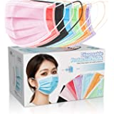 70 Pcs Disposable Face Cover 3-Ply Filter Non Medical Breathable Earloop Black Blue Pink Face Masks (7 Color)