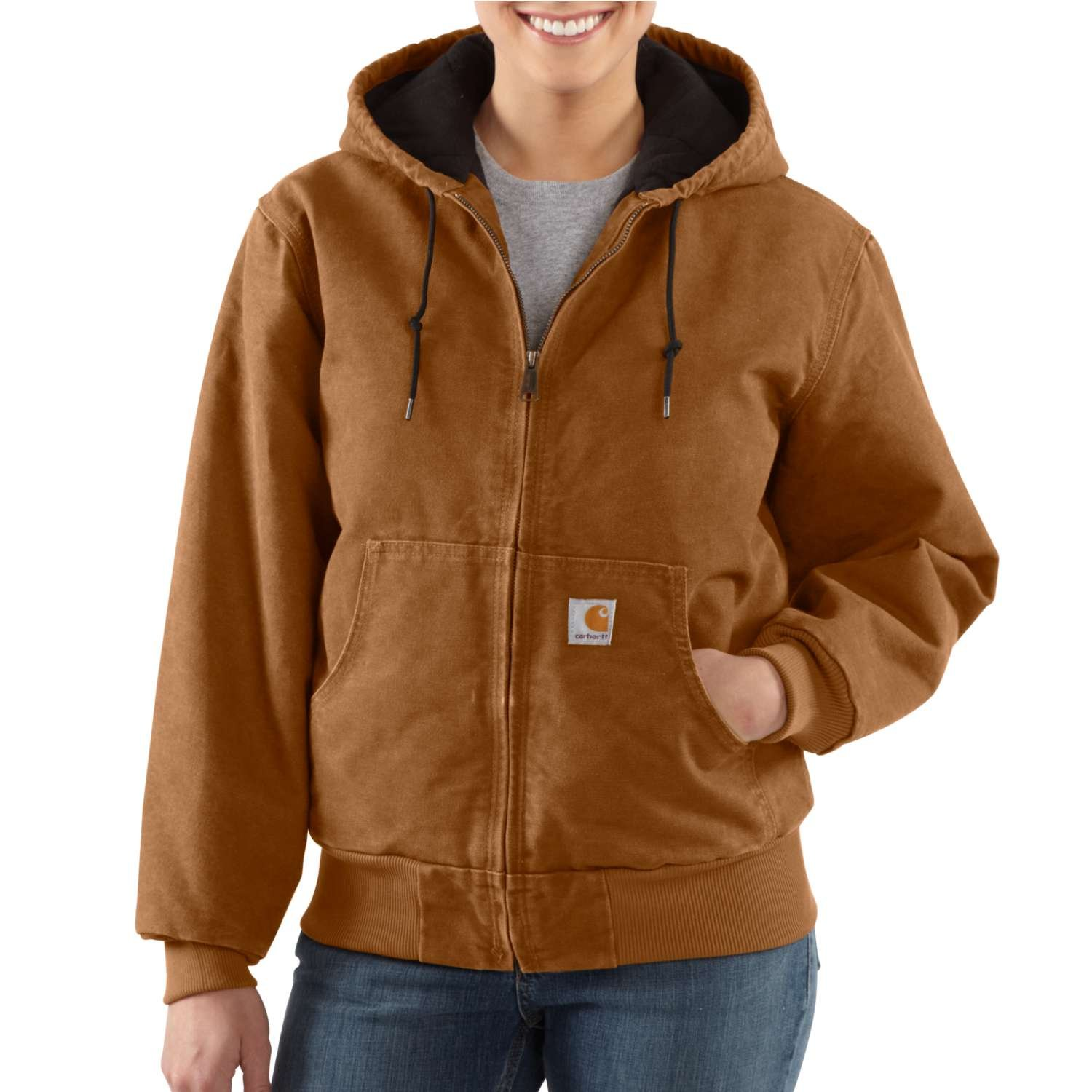 Carhartt Women's Quilted Flannel Lined Sandstone Active Jacket WJ130,Carhartt Brown,Medium
