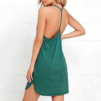 QIUMINGSS damska sukienka plażowa, luźna sukienka szyfonowa, letnia, minisukienka z dekoltem w kształcie litery V, bez rękawÓw, bez plecÓw, temperament, do klubu, na imprezę, minisukienka: O
