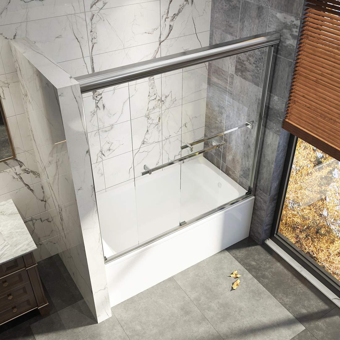 Duschdeluxe 36x55 Bathtub Shower Door 1//4 Clear Tempered Glass Hinged Pivot Framless Stationary Panel Bathtub Screen Chrome Finish