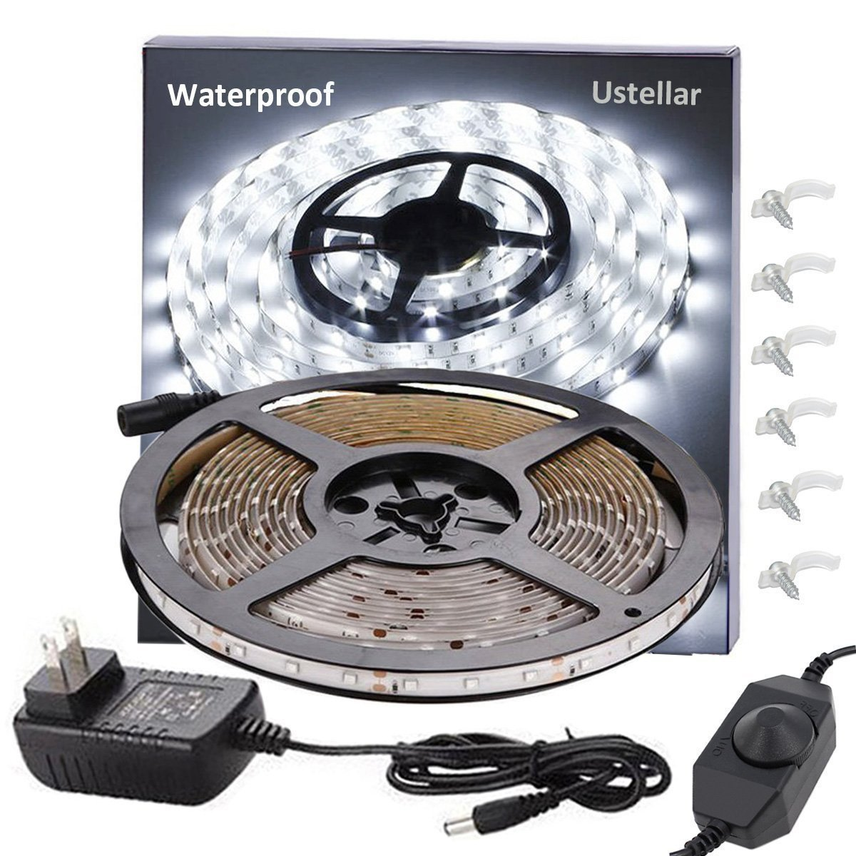 Ustellar Dimmable Waterproof LED Light Strip Kit, 300 Units SMD 2835 LEDs, 6000K Daylight White 12V LED Tape, Led Ribbon, 16.4ft/5m Lighting Strips with UL Listed Power Supply by Ustellar