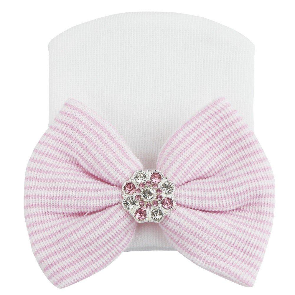feeshow新生児幼児ベビーコットンソフトNurseryビーニー帽子キャップwith Big Bow  ホワイトピンク B06XJ384S4