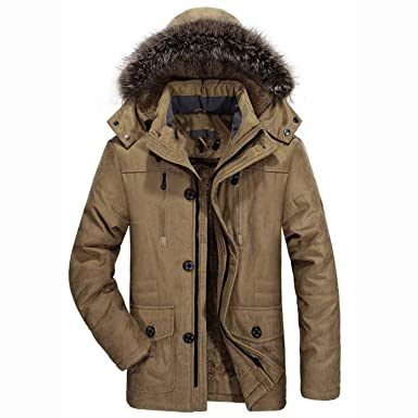 Amazon.com: Bomber Jacket Fur HoodedJackets Men Winter ...