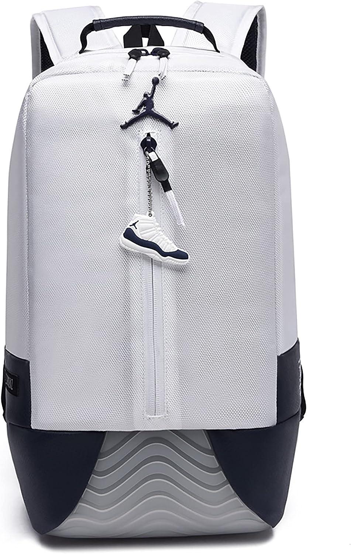 Jordan New Other Retro 11 Basketball BackPack Waterproof Travel Laptop Daypack for Womens Mens Boys Girls School Bookbags (white)