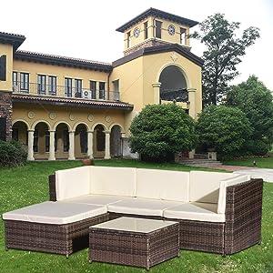 Groovy Amazon Com Rikis 5 Piece Outdoor Patio Pe Rattan Wicker Download Free Architecture Designs Sospemadebymaigaardcom
