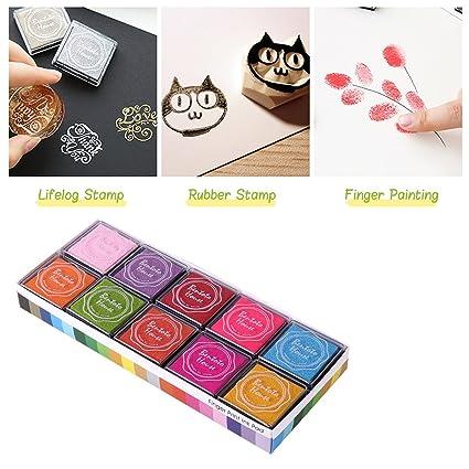 ULTNICE Fingerprint Ink Pad Multi Colored Stamp For Kids DIY 20pcs