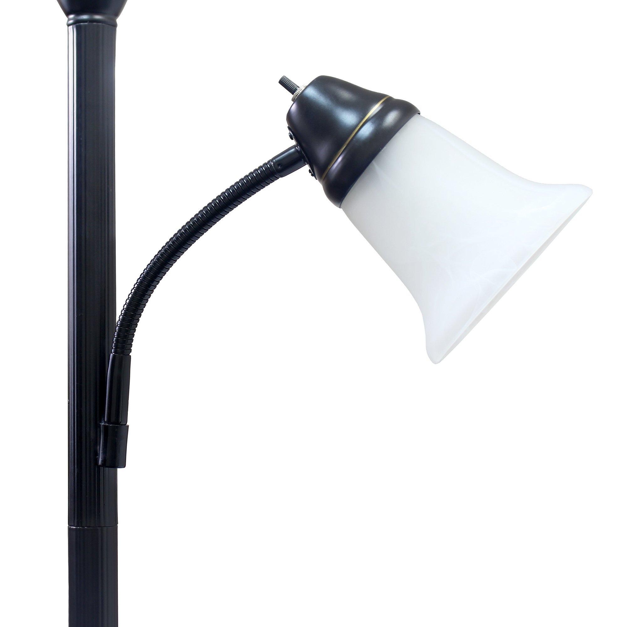 Elegant Designs LF2003-RBZ 2 Light Mother Daughter Floor Lamp with White Marble Glass,Restoration Bronze by Elegant Designs (Image #5)