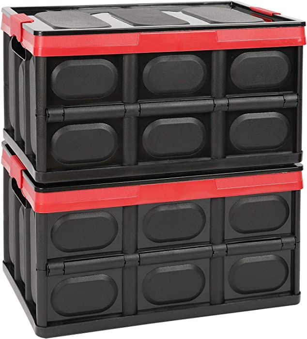 Lidded Storage Bins 2 Pack 30L Collapsible Storage Box Crates Plastic Tote Storage Box Container Stackable Folding Utility Crates for Clothes, Toy, Books,Snack, Shoe, and Grocery Storage Bin-Black