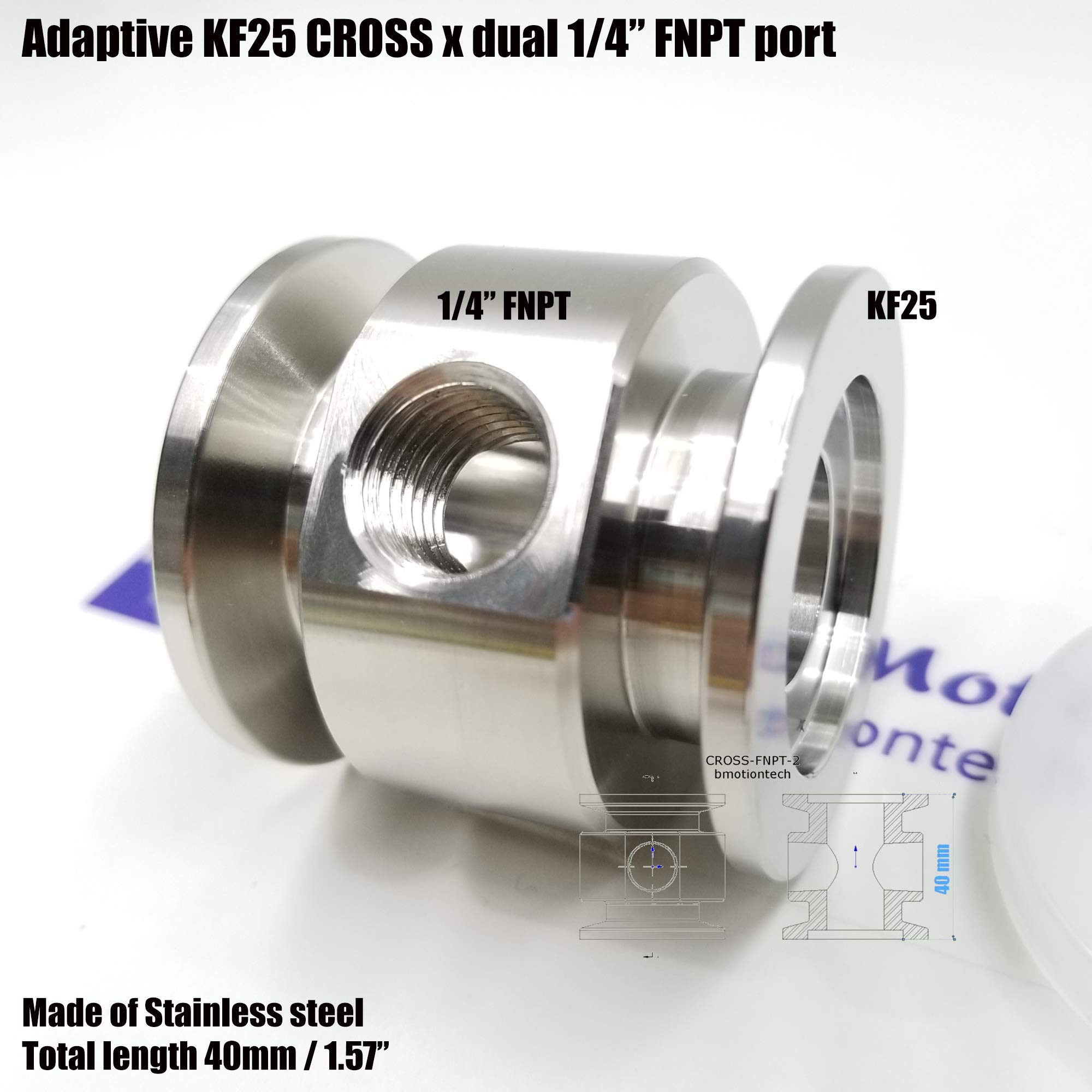 """Vacuum Adaptive Cross Both Ends KF25 Flange and Double Middle 1/4"""" FNPT Port, End to end Length 40 mm by Bmotiontech (Image #2)"""