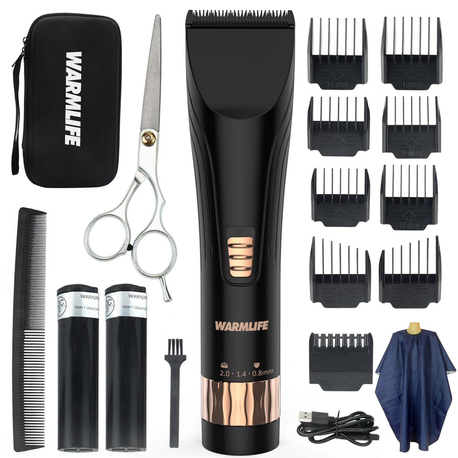 Warmlife Hair Clippers for Men Professional Cordless with Quiet, Smooth, Lightweight, Electric Hair Trimmer for Men Set, Hair Cutting Machine Kits Barber Clippers Recommend (X5-NEW)