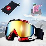 Lunettes de ski, JTENG Masques Snowboard de Protection Ski Lunettes, Ski Goggles Coupe-Vent, Lentilles Antiéblouissant & Anti-poussière pour Enfants, Garçons et Filles, Hommes et Femmes