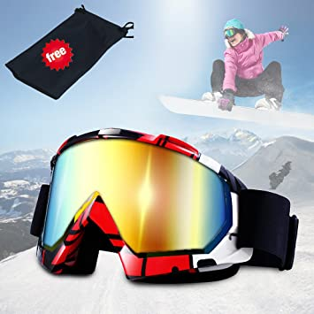 c095737a5deaf Lunettes de ski, JTENG Masques Snowboard de Protection Ski Lunettes, Ski  Goggles Coupe-Vent, Lentilles Antiéblouissant & Anti-poussière pour ...