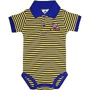Creative Knitwear Louisiana State University Tigers Newborn Striped Polo Bodysuit Purple/Gold