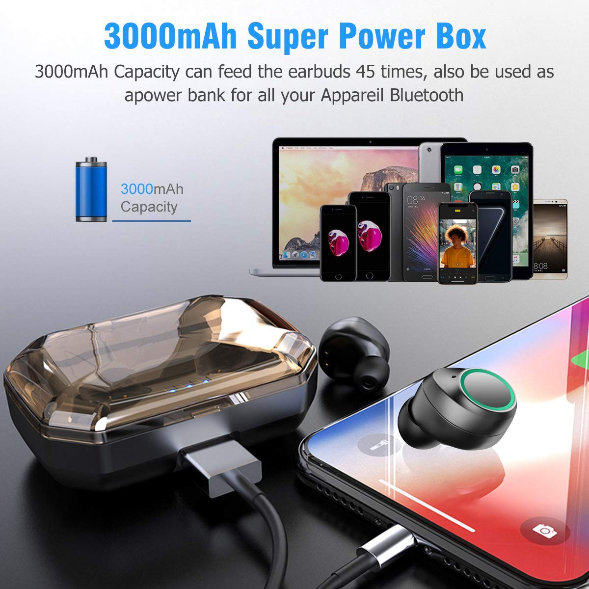 1514745971e Amazon.com: Bluetooth 5.0 Earbuds, Muzili Sport True Wireless Earbuds,  3000mAh for 125h Play Time, 9mm Driver Unit for Stereo Hi-Fi Sound, IPX6  Waterproof, ...