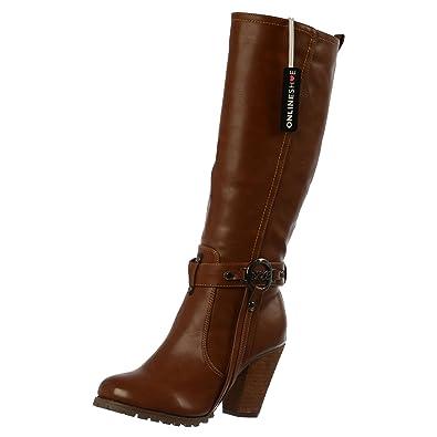 6c75103b752b Onlineshoe Womens Ladies Tall Knee High Biker Boots With Straps and Heel  UK3 - EU36 -