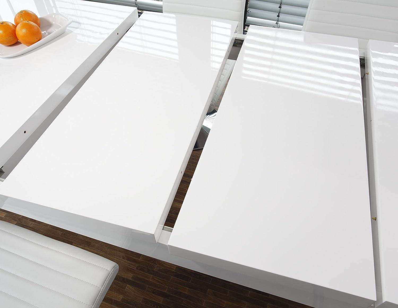 Ess Tisch Weiß Hochglanz Ausziehbar Aus MDF 180x90 Cm Recht Eckig | Luca |  Moderner Küchen Tisch Weiss Ausziehbar Auf 260cm X 90cm | Ausziehtisch  Hochglanz ...
