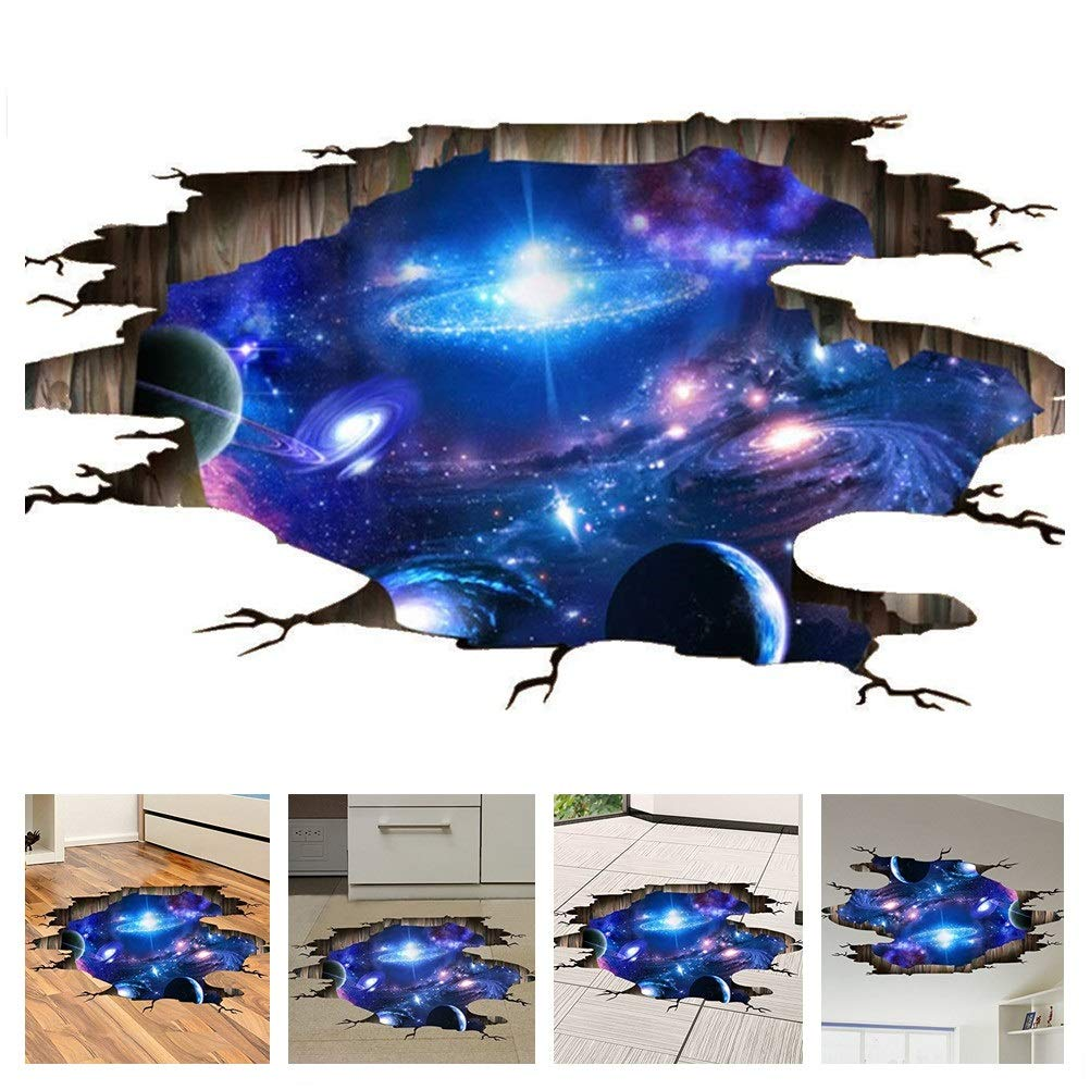 Amaonm Creative 3D Blue Cosmic Galaxy Wall Decals Removable PVC Magic 3D Milky Way Outer Space Planet Window Wall Stickers Murals Wallpaper Decor for Home Walls Floor Ceiling Boys Room Kids Bedroom by Amaonm (Image #1)