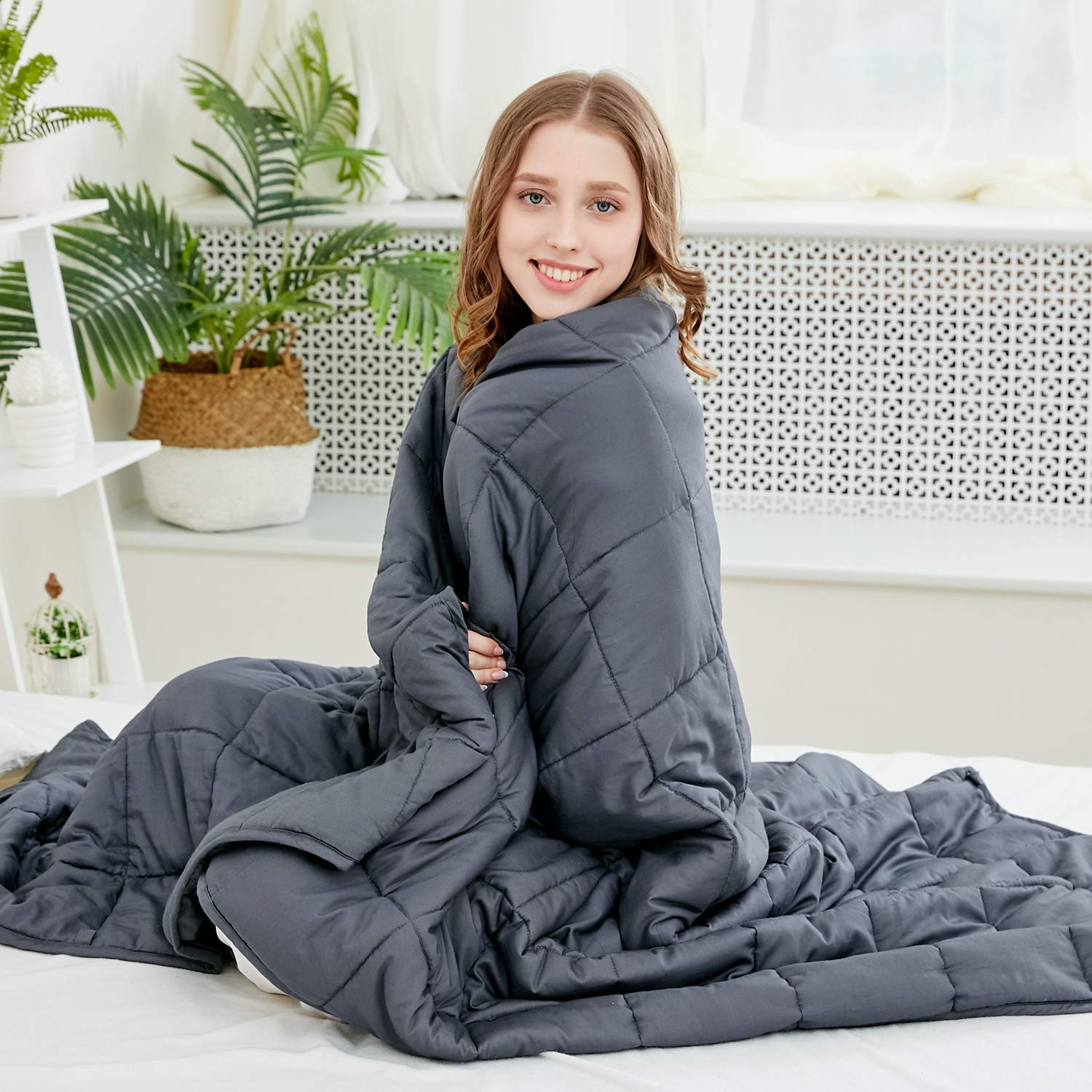 Larvinhom Weighted Blanket for Adults 60''x80'' 15lbs (for 120lbs-180lbs) Queen Size Heavy Blanket with Glass Beads Breathable 100% Cotton(Dark Grey) by Larvinhom
