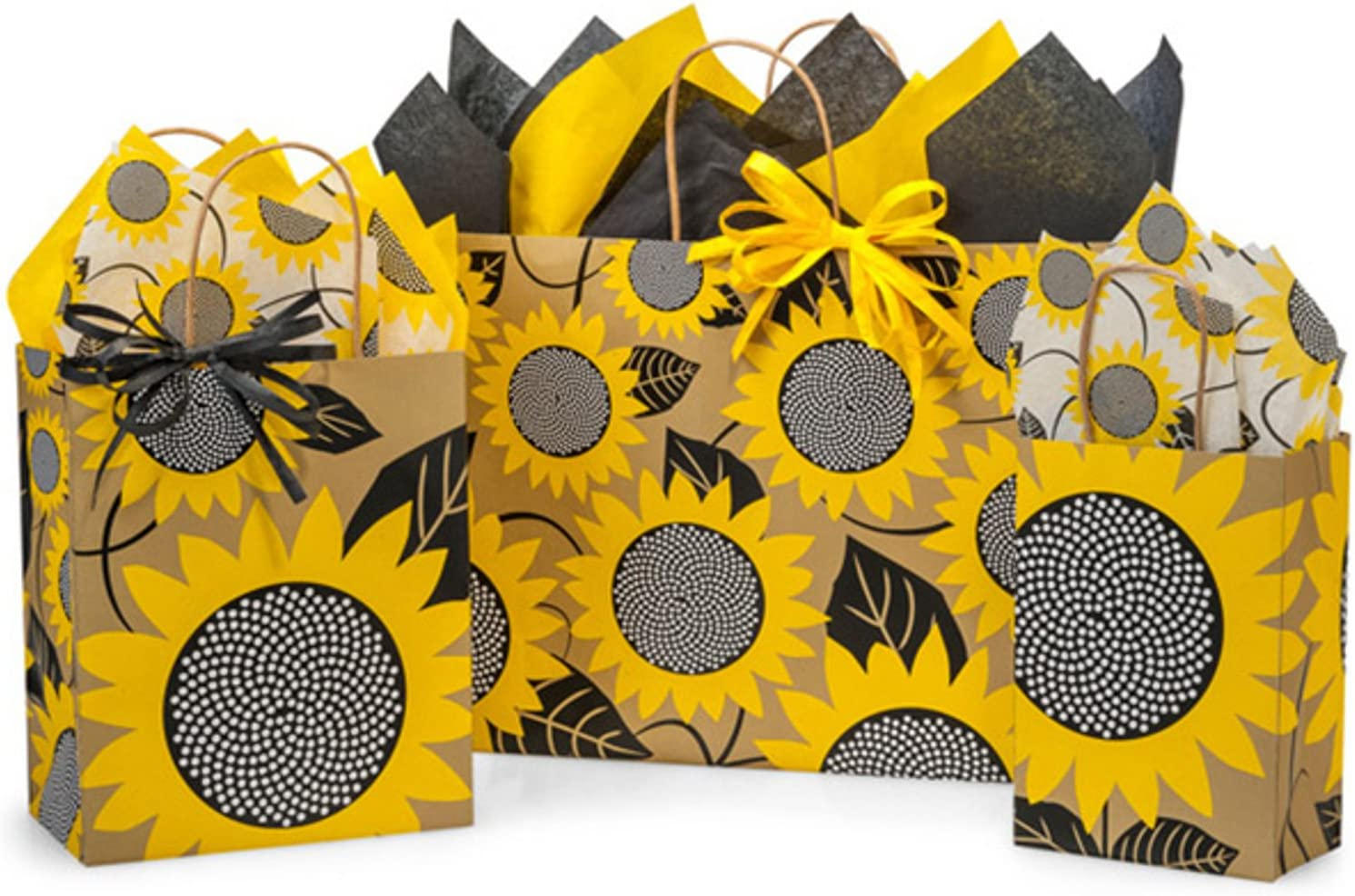 Gift Bags with Tissue Paper - Assorted Sizes with Coordinating Tissue Paper and Raffia Ribbon (Sunflower Fields)