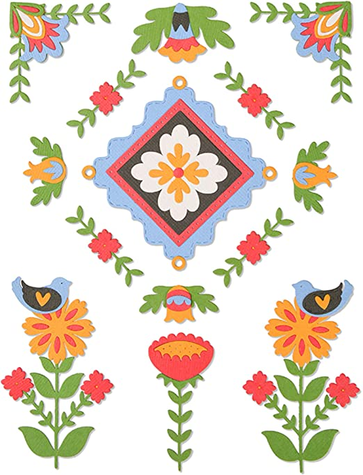 Sizzix 663613 Folk Art Pattern by Courtney Chilson Dies us:one Size Multicolor