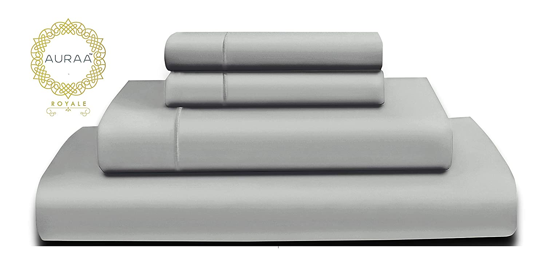 AURAA Royale 1000スレッドカウント 100%アメリカンスピマロングステープルコットンシーツセット サテン織り ホテルコレクション 高級寝具 最大16インチの深いポケットに対応 クイーン シルバー B07KTVSPR3 ムーンストーン クイーン