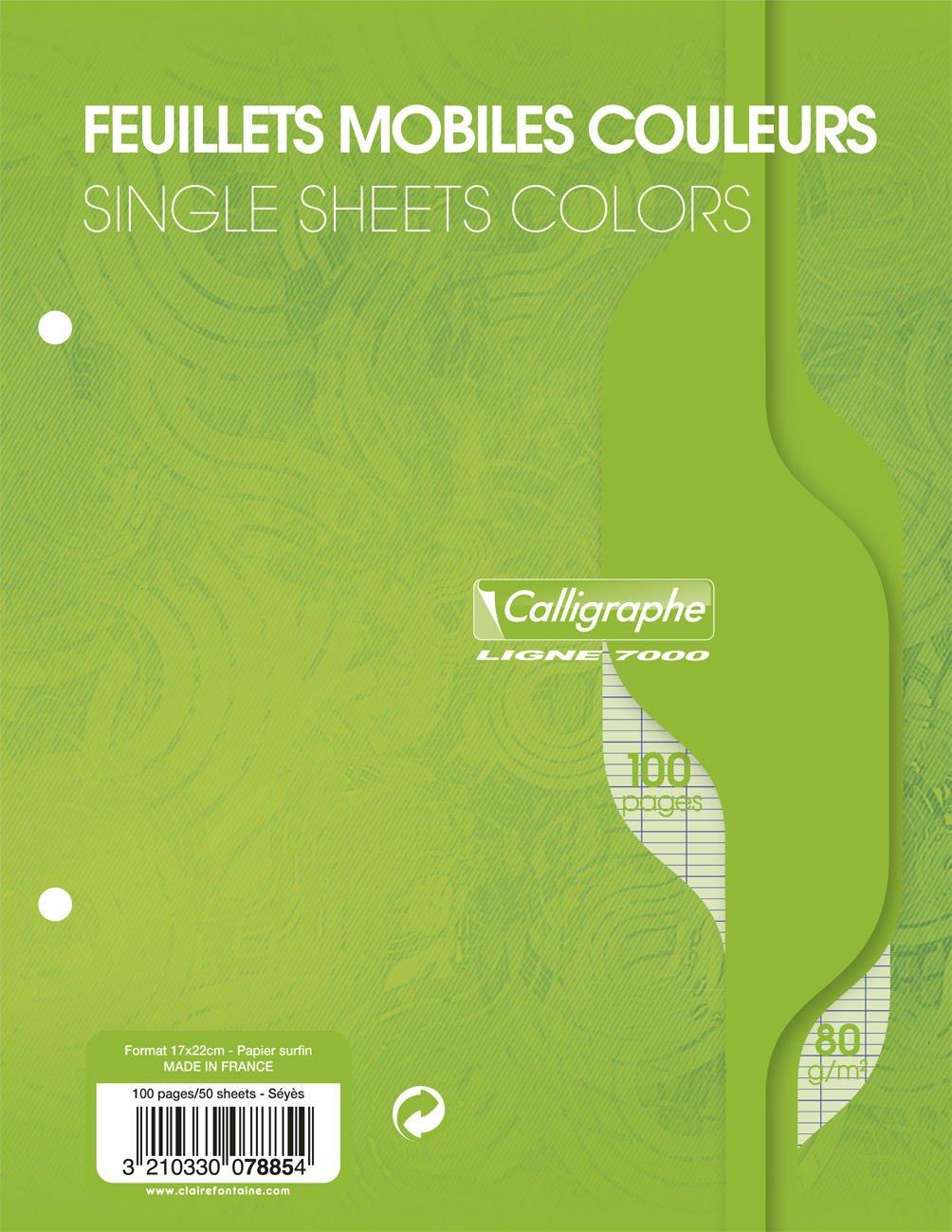 Libro verde de hojas sueltas de papel Seyes rayado y con 2 agujeros de Clairefontaine, 17 x 22 cm (paquete de 50 hojas) 17 x 22 cm (paquete de 50hojas) 7885C
