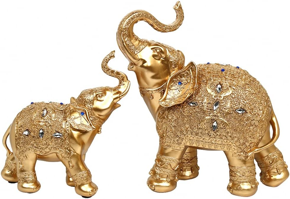 BOYULL Large Size Feng Shui Mother and Baby Elephant Wealth Lucky Statue/Figurine,Home Decor Gift