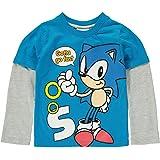 Sonic el erizo niños manga larga Impreso camiseta azul/gris Sega Cartoon Junior Kids Top