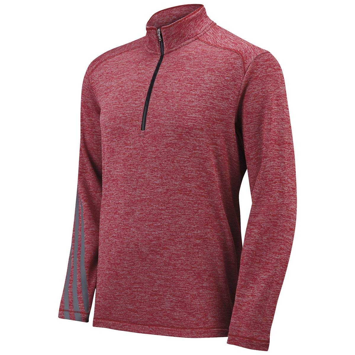 Power Red Heather  Black 4X-Large Adidas A284 Brushed Terry Heather Quarter-Zip