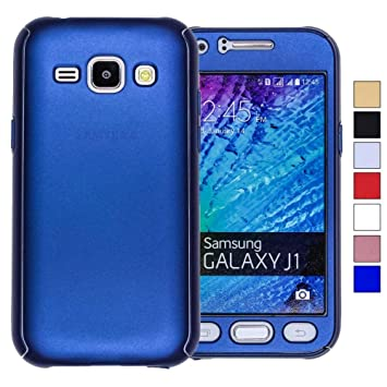COOVY® Funda para Samsung Galaxy J1 SM-J100 SM-J100F (Model 2015) 360 Grados, Carcasa Ultrafina y Ligera, con Protector de Pantalla, protección de ...