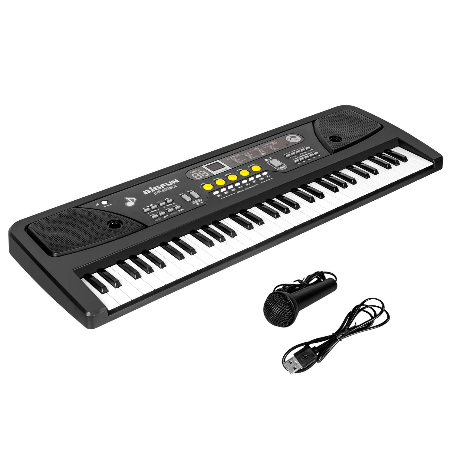 M SANMERSEN Kids Piano, 61 Keys Piano Keyboard with Microphone / MP3 Function Musical Instrument for Boys Girls Educational Music Keyboard Children Gift Toy for 3-8 Years Old