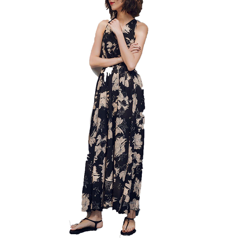 58ae5c5d4942 Letters-from-Iceland 2018 Summer Bohemian Maxi Dresses Women Print V-Neck Long  Dress Ruffles Sleeveless Off Ba at Amazon Women s Clothing store