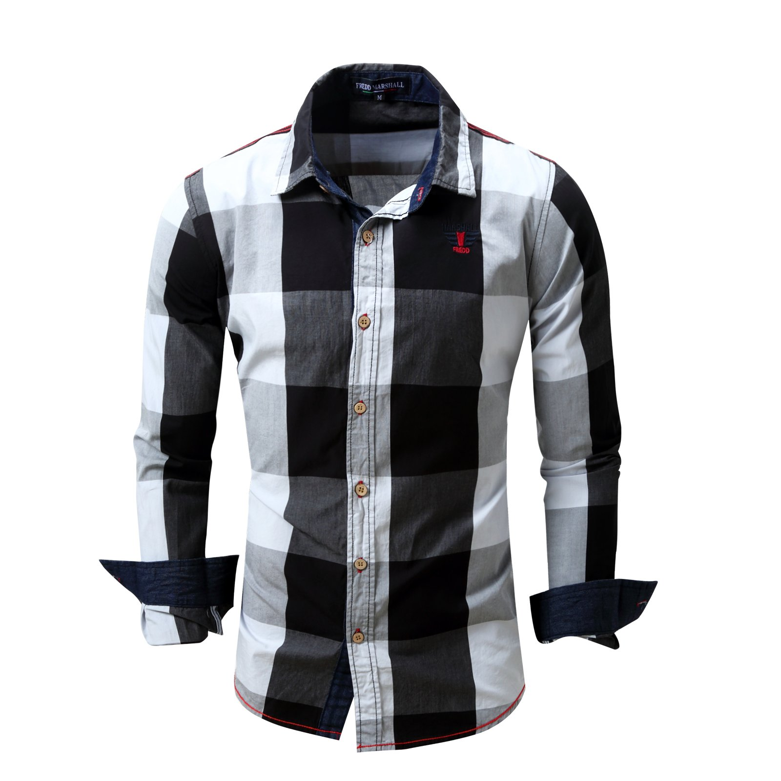 FREDD MARSHALL Men's 100% Cotton Long Sleeve Slim fit Plaid Casual Fashion Business Style Shirts (M, Black)