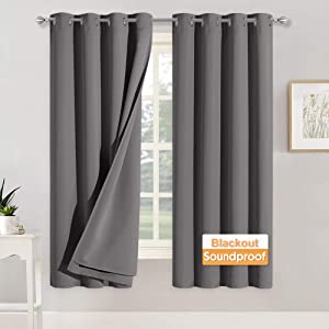 RYB HOME Noise Cancelling Curtains - 3 Layers Total Blackout Curtains Grommet Heavy Duty Drapes Thermal Insulated Energy Efficiency for Kids Room Studio Bedroom, 52 x 63 inches Long, Grey, 2 Panels