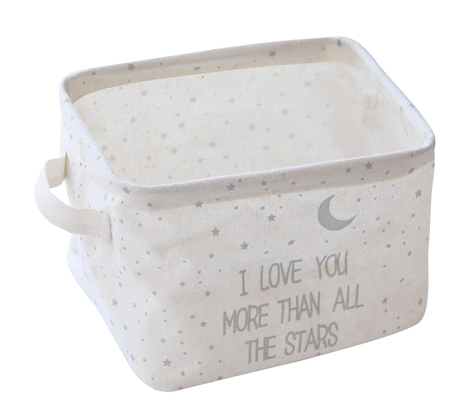 "Slytem Storage Bin Basket Organizer Container Cube Rectangle with Handles Linen Canvas Jute Collapsible (#1: 7.8"" long × 6.3"" wide × 5.1"" high, Gray Stars Moon)"