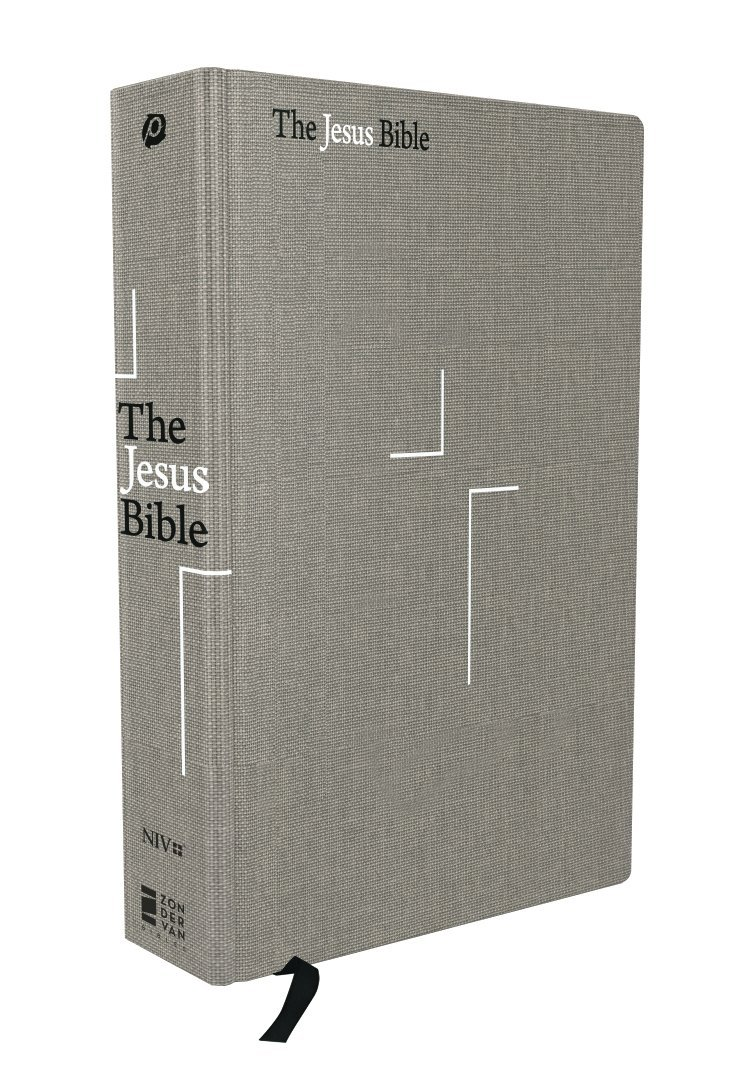 The Jesus Bible, NIV Edition, Cloth over Board, Gray Linen by HarperCollins Christian Pub.