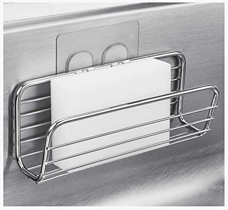 Adhesive Sponge Holder Sink Caddy For Kitchen Accessories   Sus304 Stainless Steel Rust Proof Water Proof, Quick Drying by Kesol