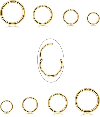 Jstyle 12Pcs 16G Surgical Steel Hinged Clicker Segment Nose Rings Hoop Helix Cartilage Daith Tragus Sleeper Earrings Body Piercing 8-12MM Improved