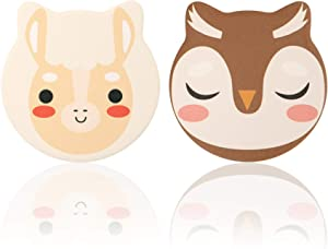 Sayopin 2PCS Premium Ceramics Coaster for Drinks Absorbent, Cute Animal Diatomite Coasters with Cork Base for Tabletop Protection, 4.1In Thicken Heat-Resistant Coaster for Housewarming Birthday Gift