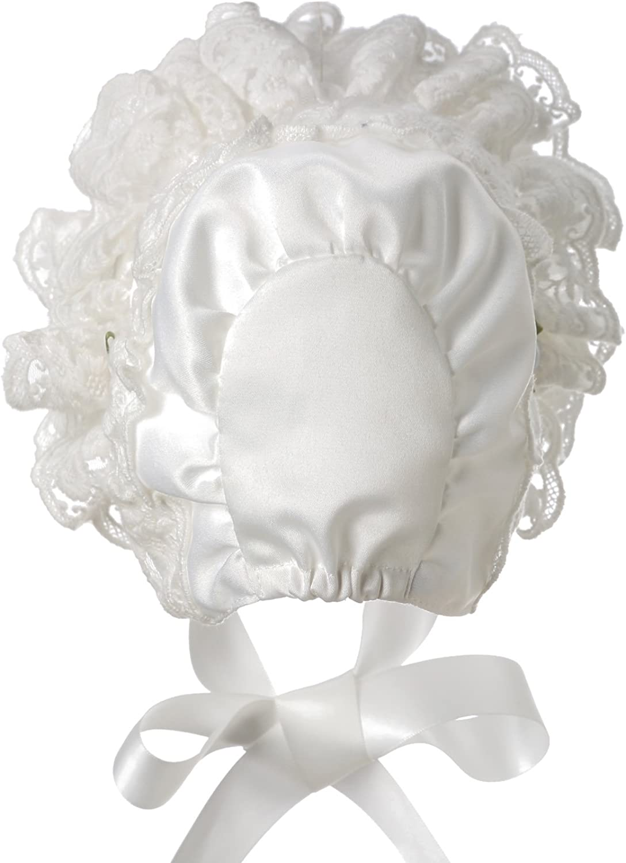 Hanakimi Girls Lacy White Infant Bonnet JM1010