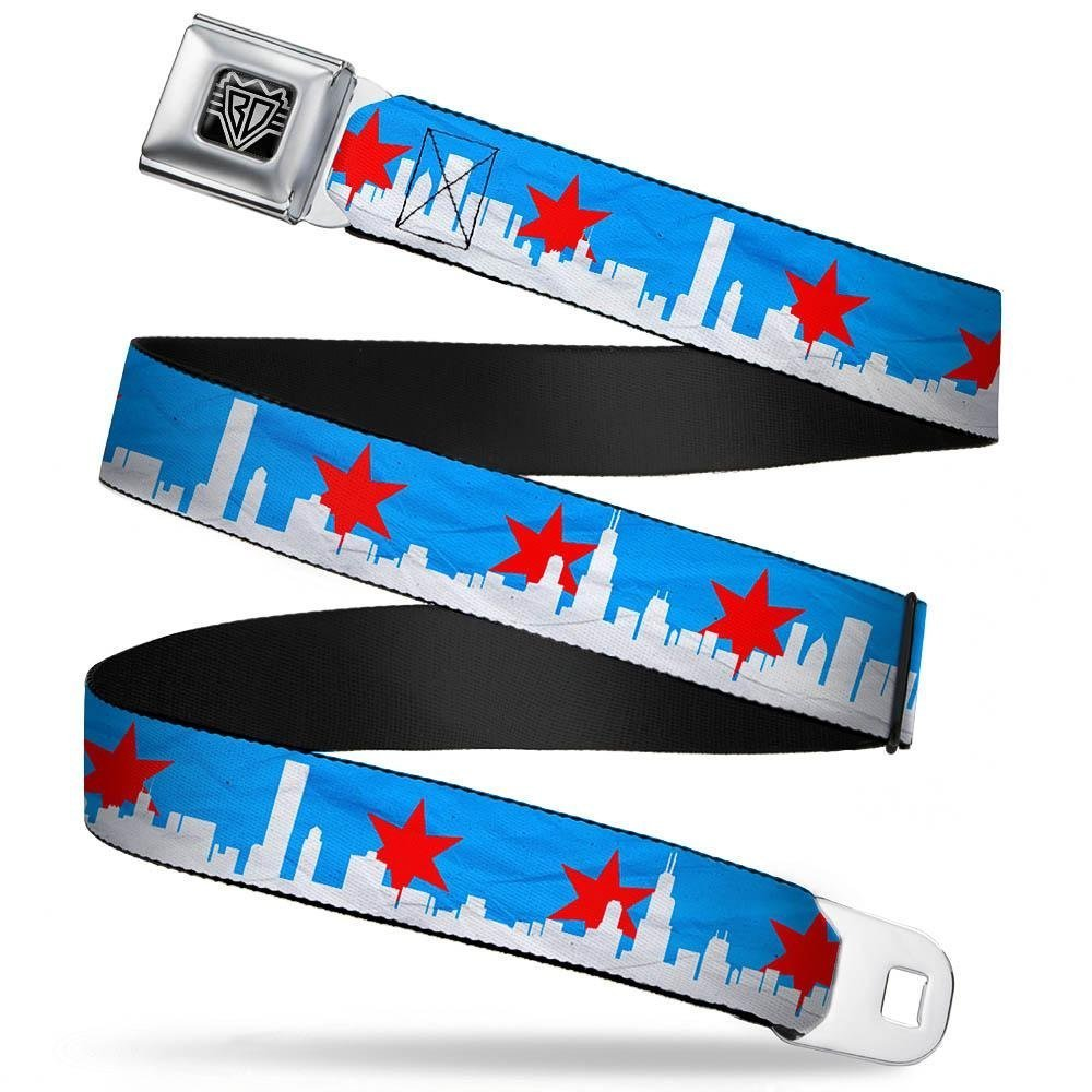 Buckle-Down Unisex-Adults Seatbelt Belt Regular 1.5 Wide-24-38 Inches Chicago Skyline//Flag Distressed Black//White//red