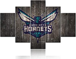 Patriotic Artwork for Bedroom NBA Sport Charlotte Hornets Pictures American Basketball Paintings 5 Panels Canvas Wall Art Giclee Modern Home Decor Framed Ready to Hang Poster and Prints(60