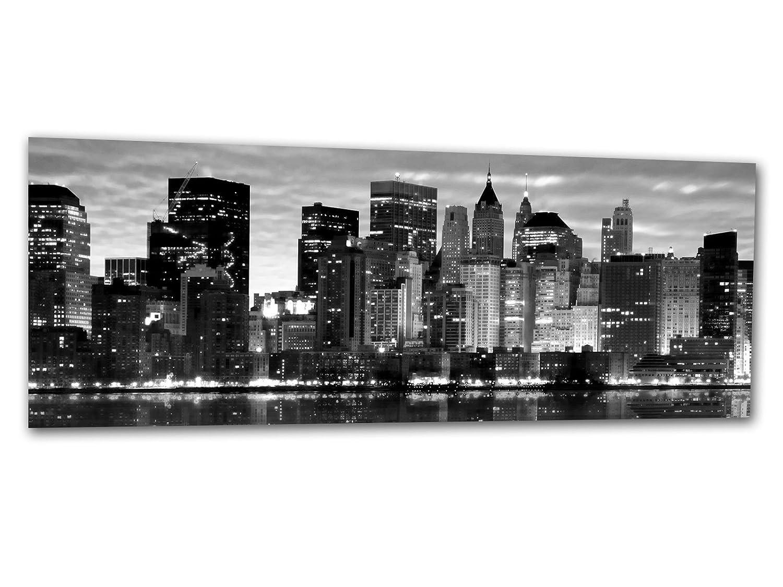 Design /& fatto a mano immagine New York SKYLINE BLACK AG312501059 Wall deco 125 x 50 cm Deco Glass Grande stampa di vetro