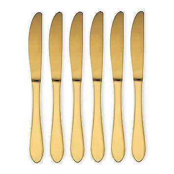 Juego de cubiertos de cuchillos, tenedores y cucharas de acero inoxidable, metal, dorado, Dinner Knife: Amazon.es: Hogar