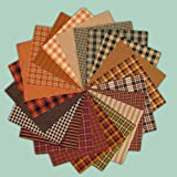 40 Autumn Spice Charm Pack, 5 inch Precut Cotton Homespun Fabric Squares by Jubilee Creative Studio