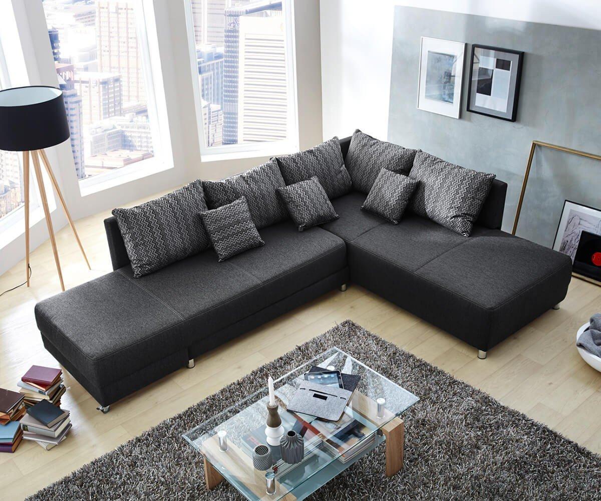 eckcouch ivani schwarz 300x213 cm ottomane rechts schwenkbar ecksofa jetzt kaufen. Black Bedroom Furniture Sets. Home Design Ideas
