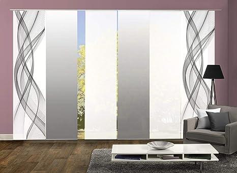 wohnfuehlidee 6er-Set Flächenvorhang, Deko Blickdicht, Mariella, Höhe 245 cm, 2X Dessin grau / 2X Uni weiß Blickdicht / 2X Fa