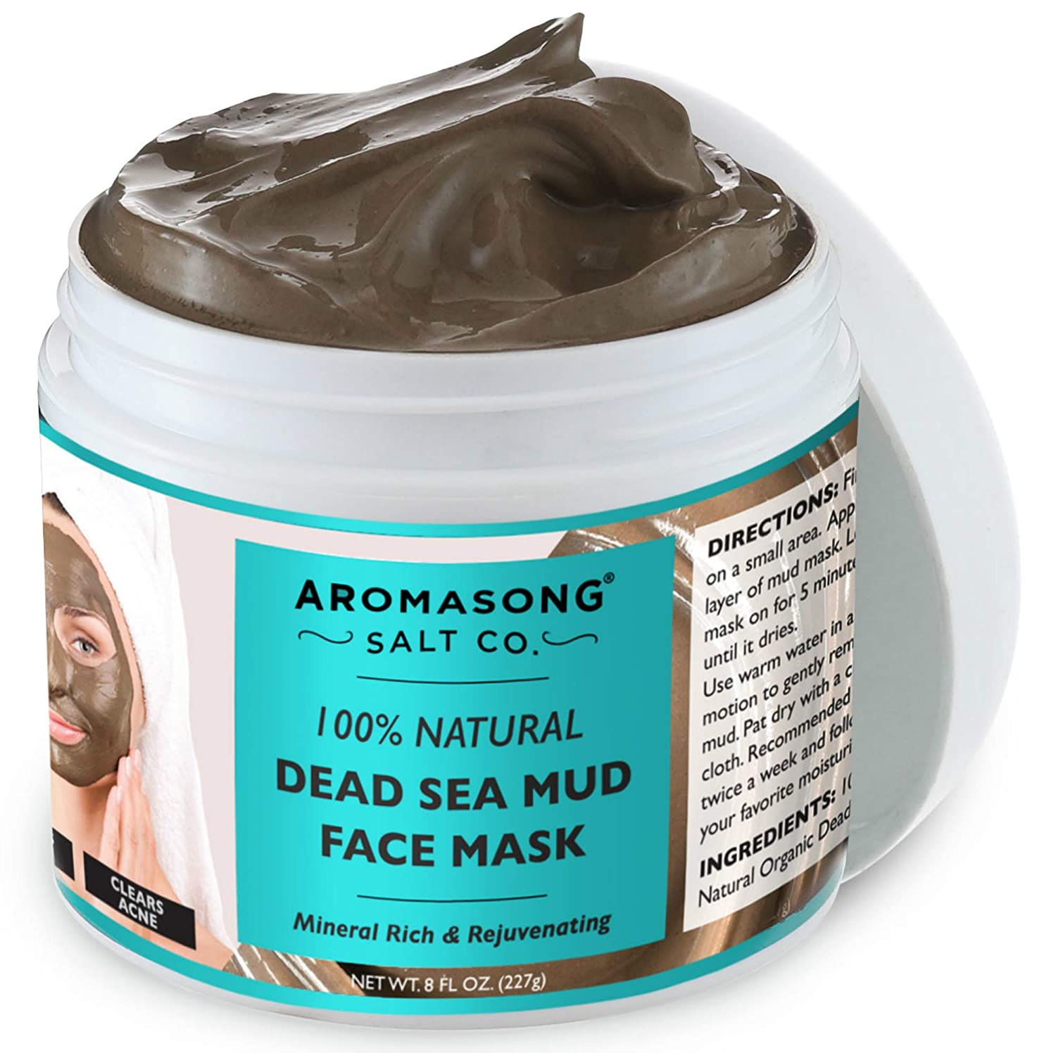 100% PURE & Natural Dead Sea Mud Mask NO INGREDIENTS ADDED - Acne Treatment, Blackhead Remover, Anti-Aging, Pore Minimizer Face Mask – Natural Skin Care, Facial Beauty Masks for Women & Men.