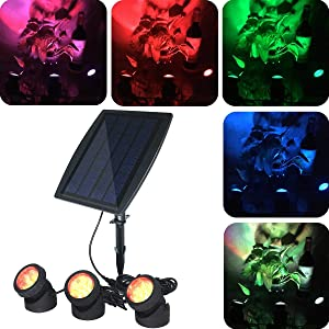 COODIA Solar Powered Underwater Night Light 3 Submersible RGB Lamps Color Changing Landscape Spotlight for Garden Pool Pond Outdoor Decoration