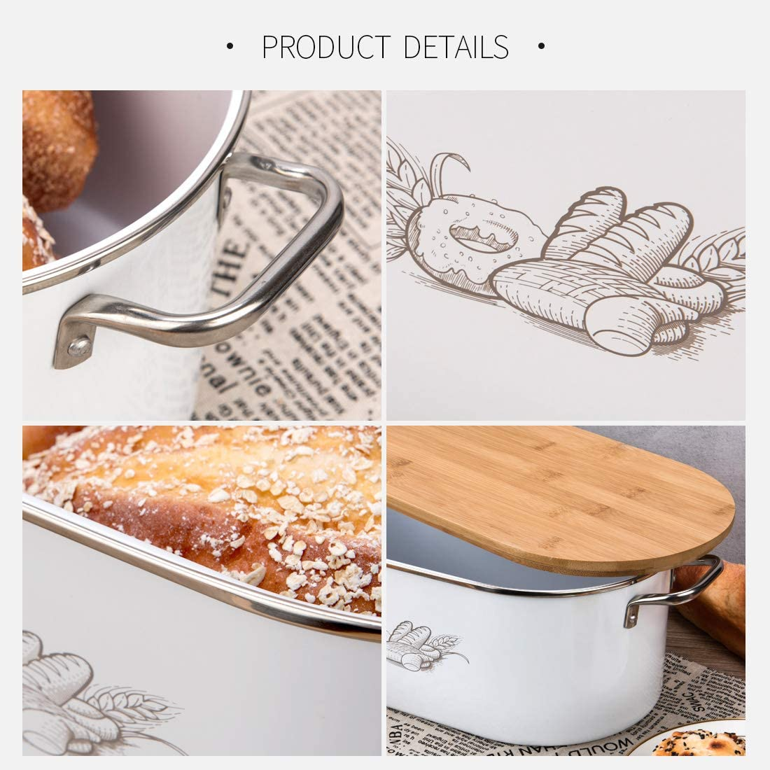 Bread Box Bamboo Cutting Board Lid Stainless Steel Modern Farmhouse Bread Holder Container Bin 8x16.5x5.5 inch Cool White